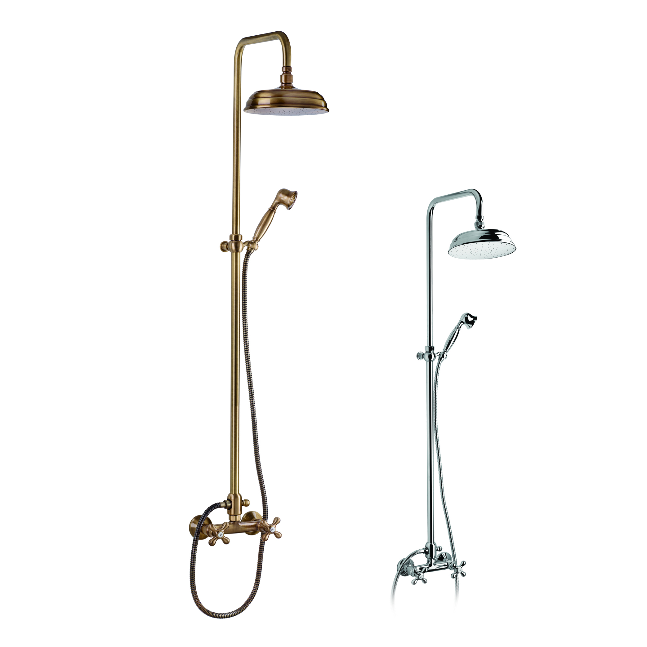 Telescopic shower column with shower group