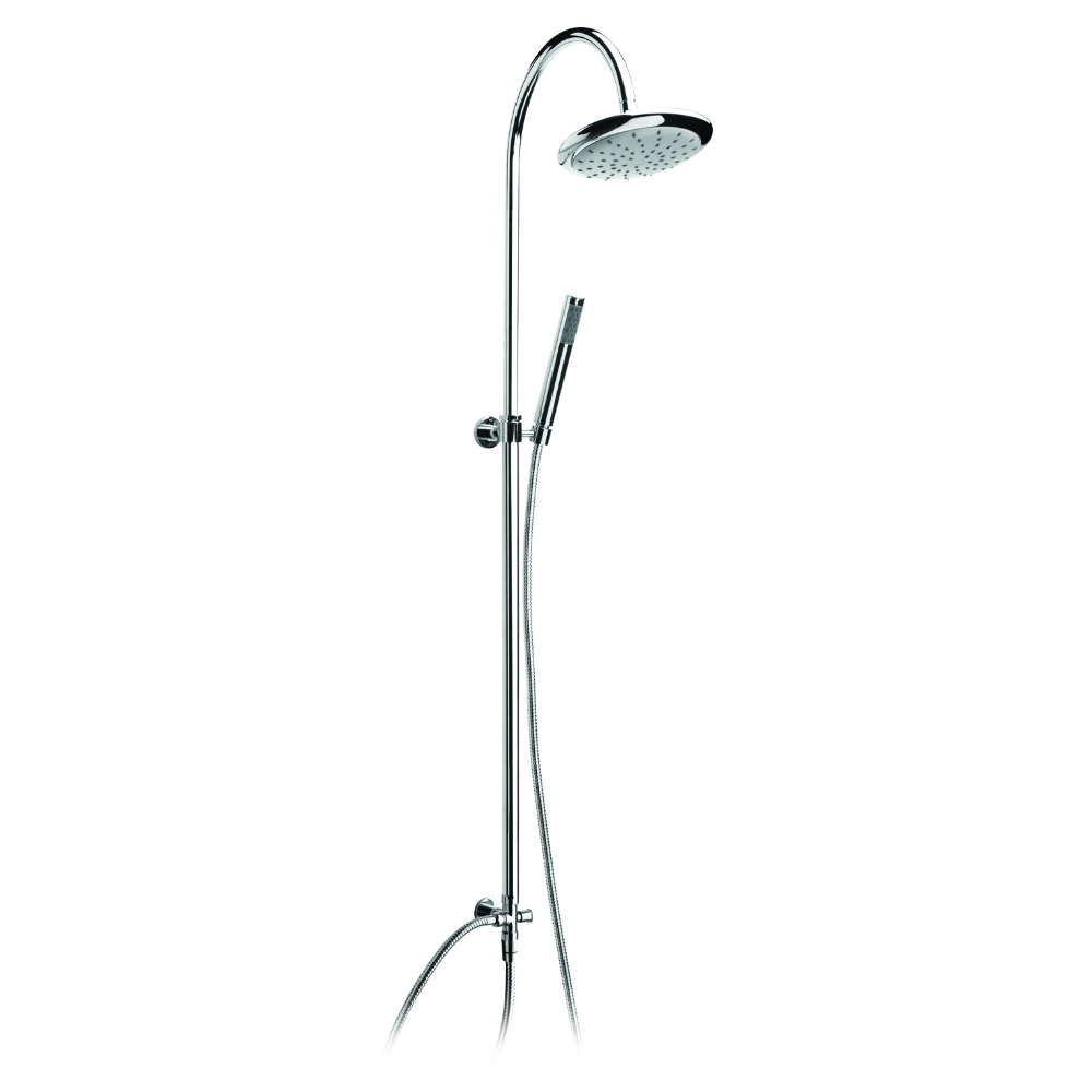 Telescopic shower column with swivel head and head shower