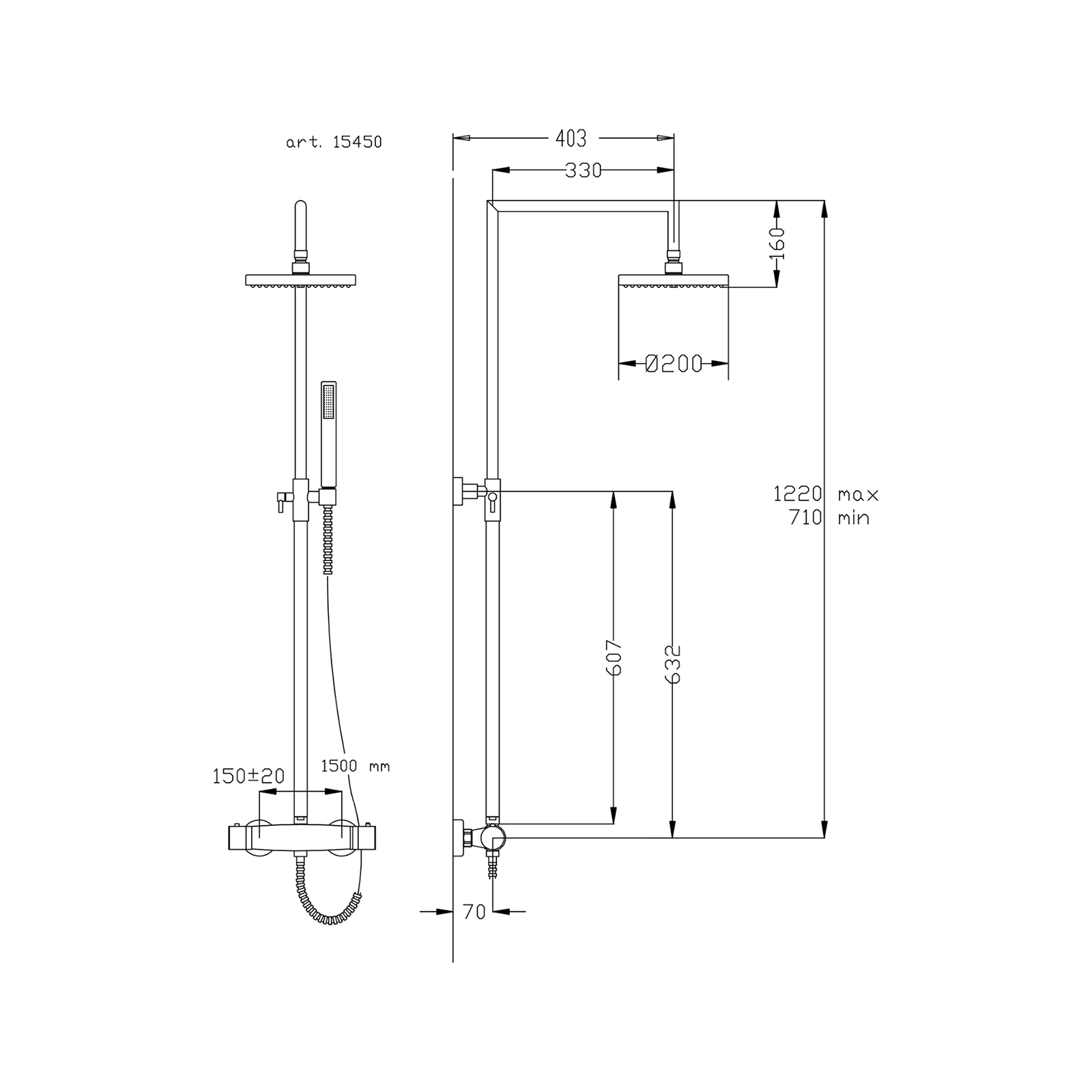 Colonne de douche télescopique thermostatique orientable