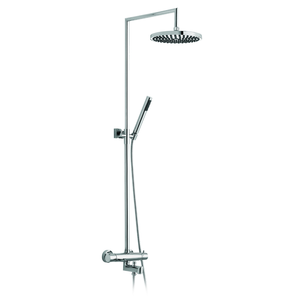 Shower column/telescopic bathtub adjustable with thermostat