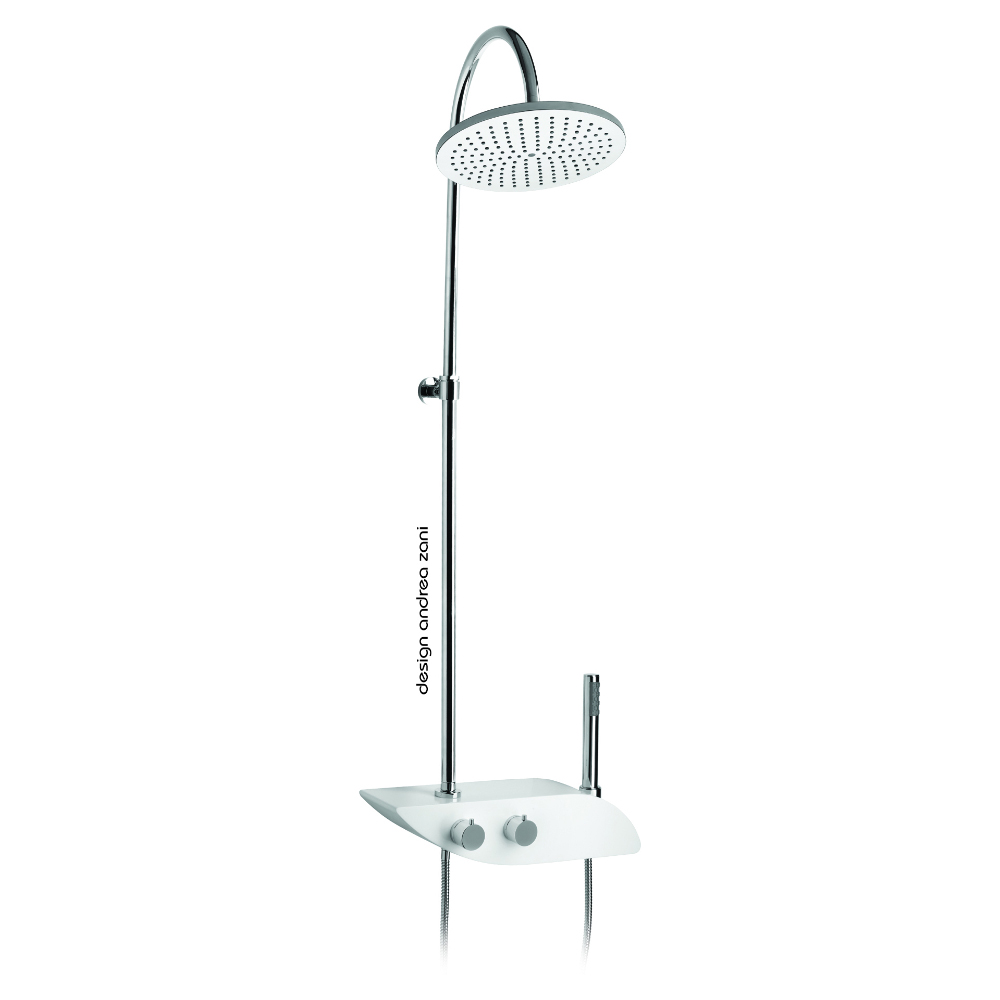 Telescopic shower column with thermostat