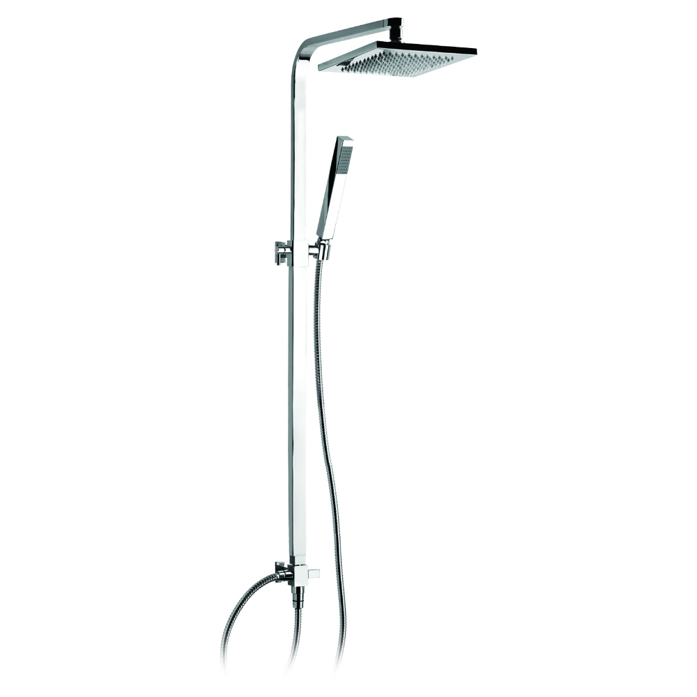 Telescopic shower column with shower group and shower head