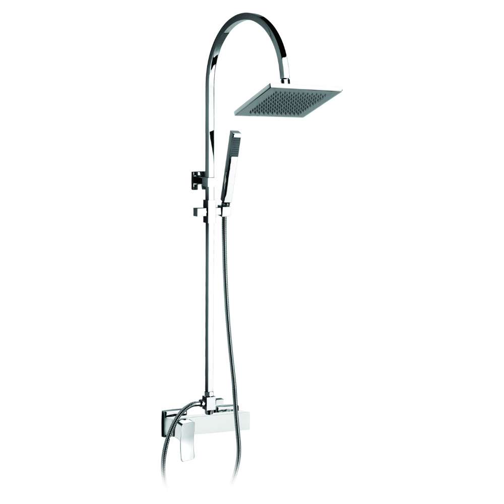 Telescopic shower column with mixer