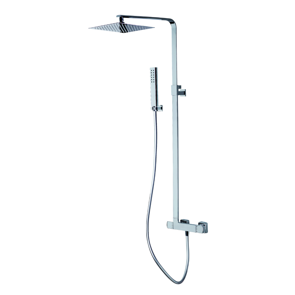 Telescopic shower column, adjustable and thermostatic