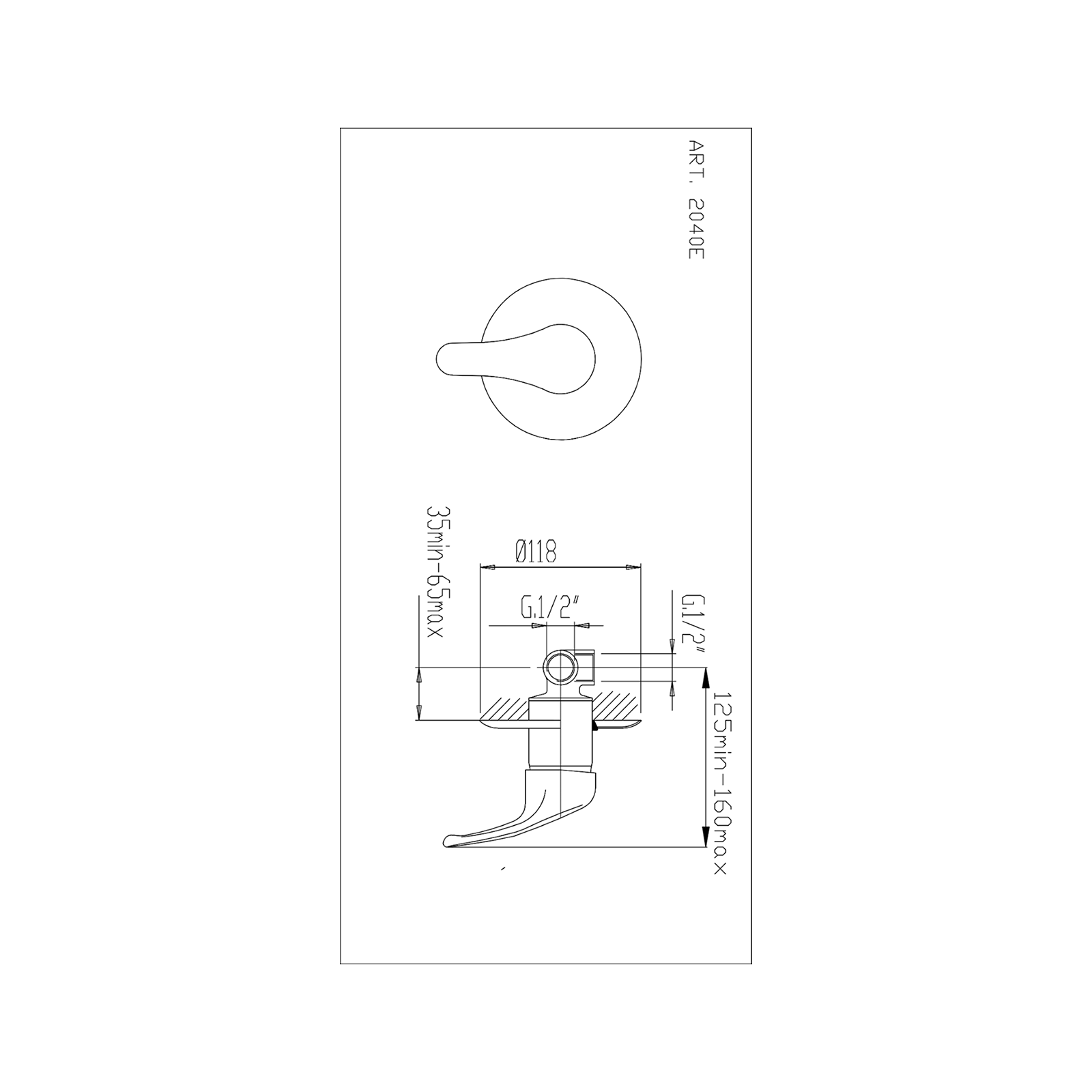 Mélangeur à commande unique intégré pour douche