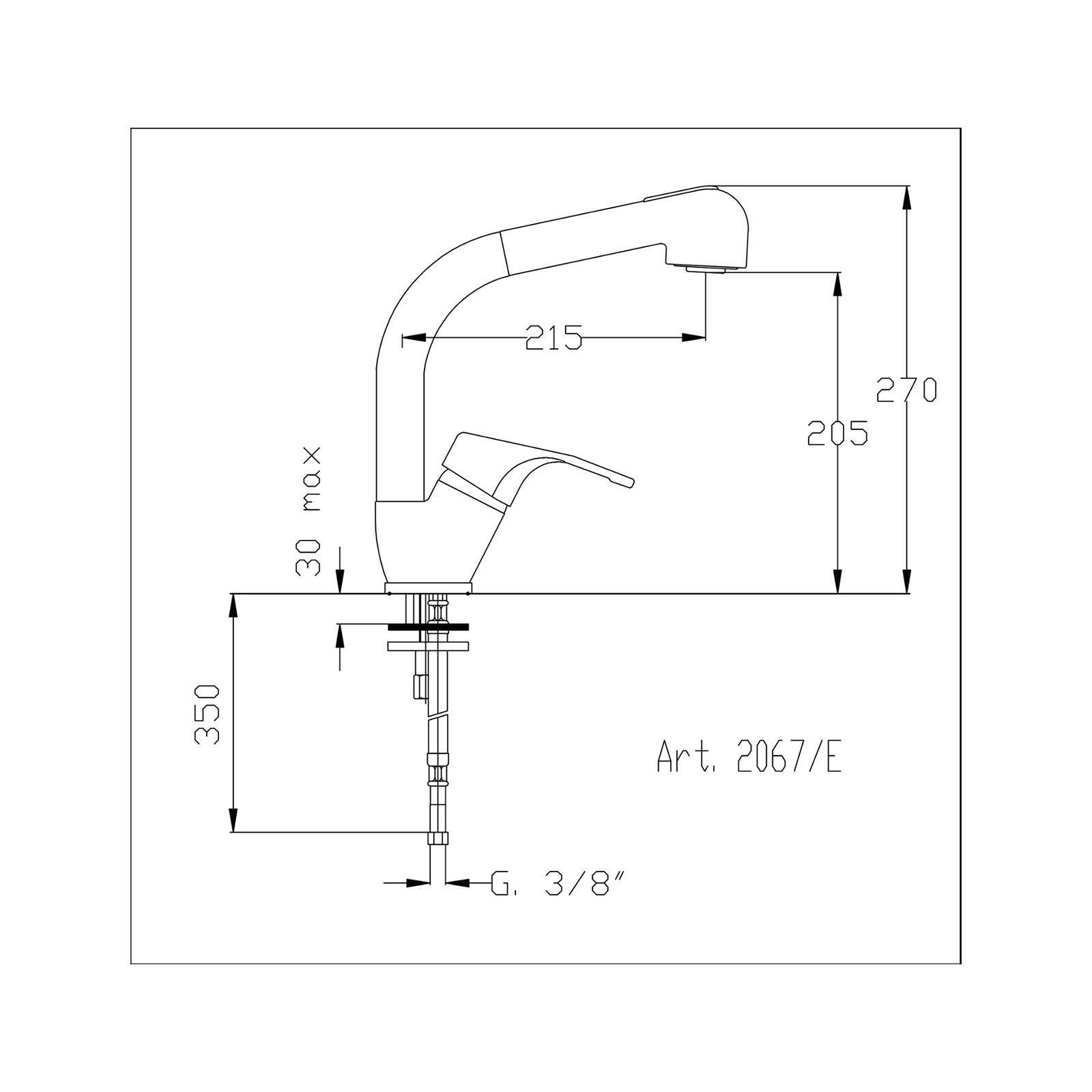 Melangeur mono-commande avec douchette à main
