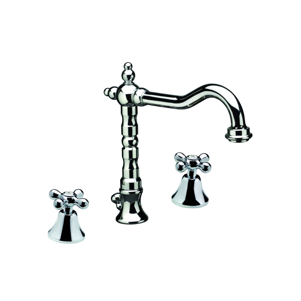 3-hole basin mixer with old style swivel spout and pop-up waste