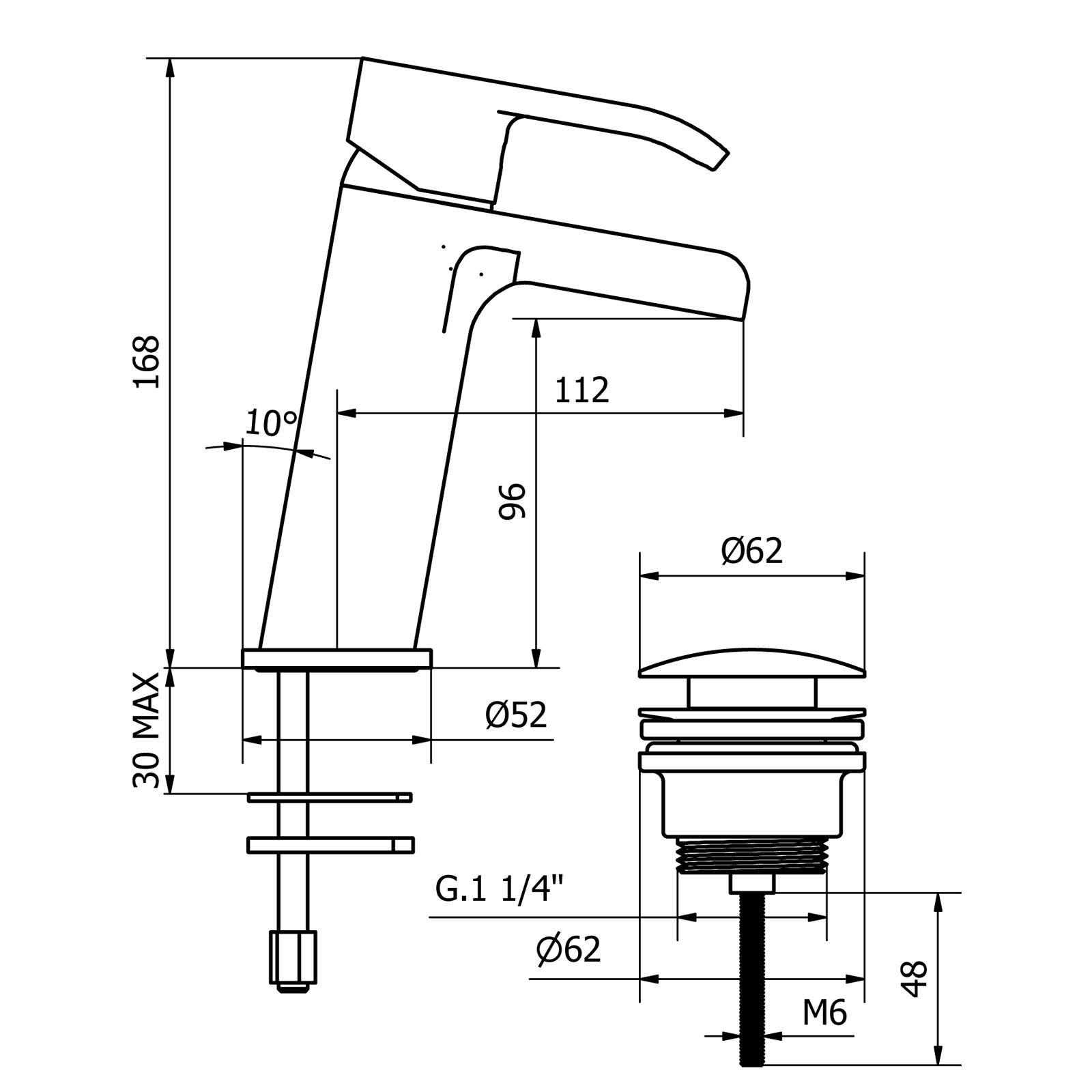 Miscelatore monocomando lavabo con bocca aperta a cascata e scarico CLICK-CLACK