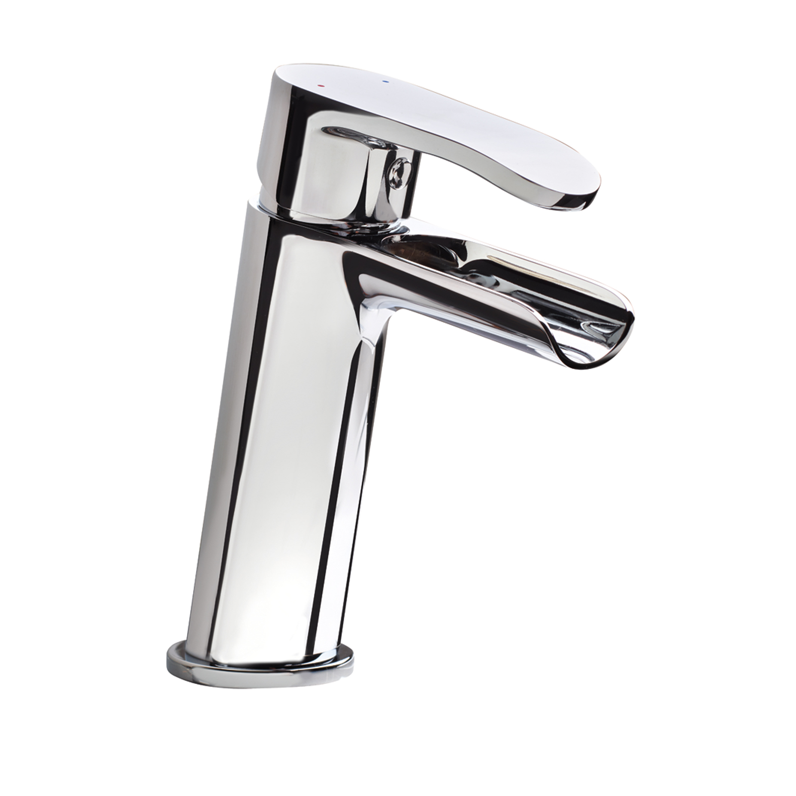 Single-control mixer for washbasin with open cascade spout and CLICK-CLACK waste
