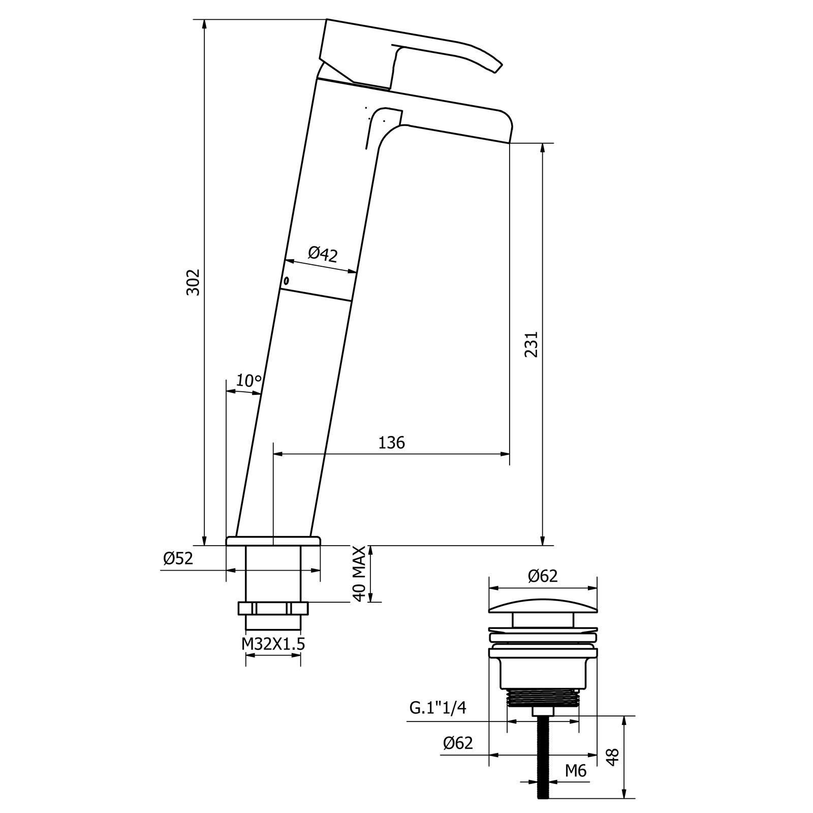 Grand Mitigeur mono-commande pour lavabo avec bec en cascade ouvert et déchets CLICK-CLACK