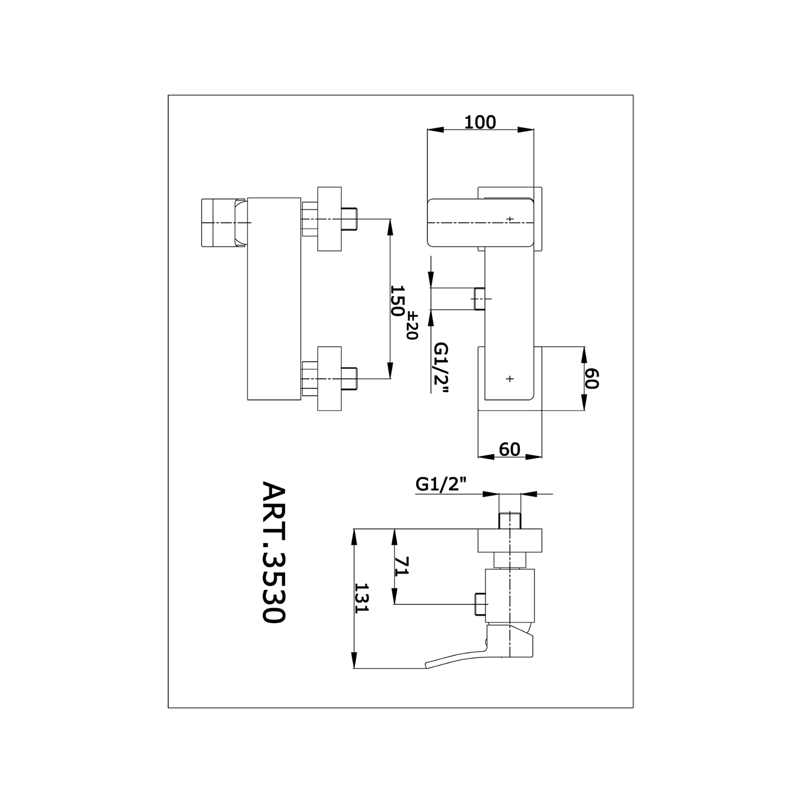 Miscelatore doccia con attacco inferiore