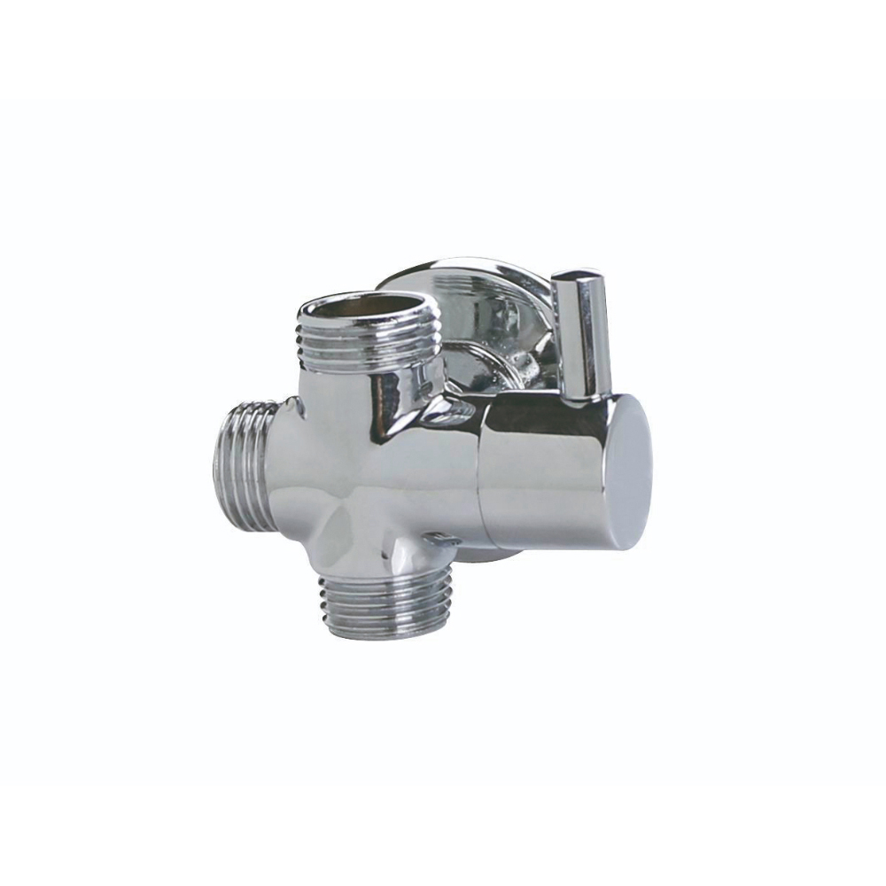 Round shower diverter with wall support