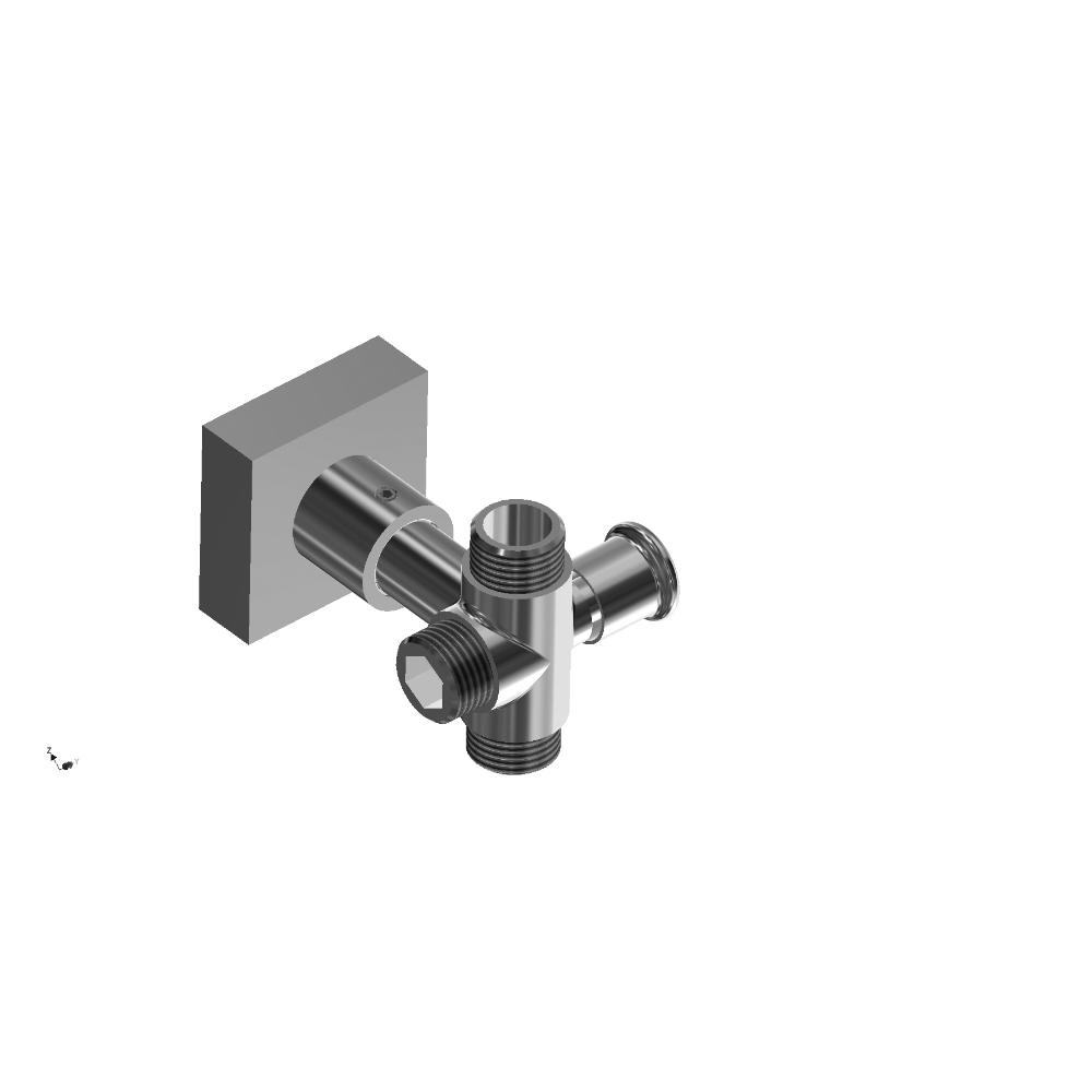 Round shower diverter valve with wall support