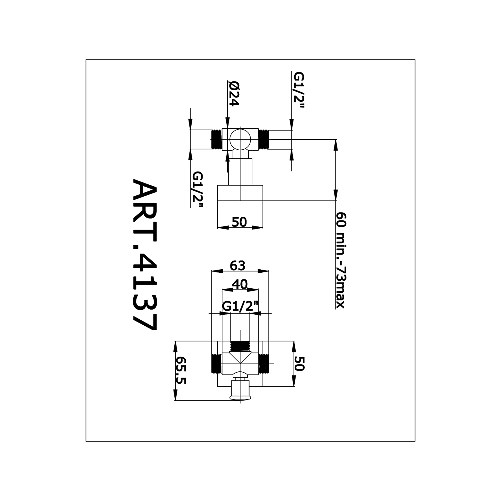 Inverseur ronde pour colonne avec support mural et rosace carrée.