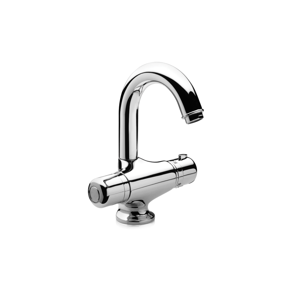 Thermostatic mixer with swivel spout