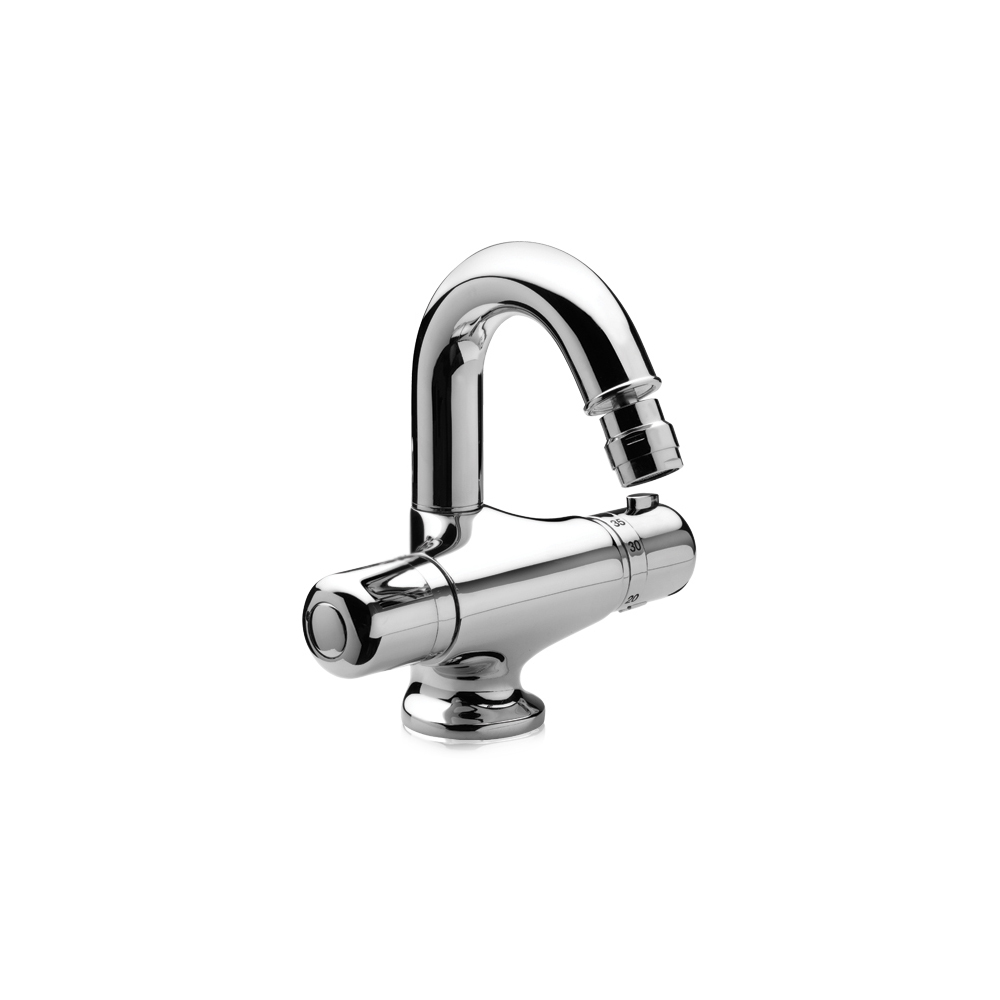 Thermostatic bidet mixer with swivel spout
