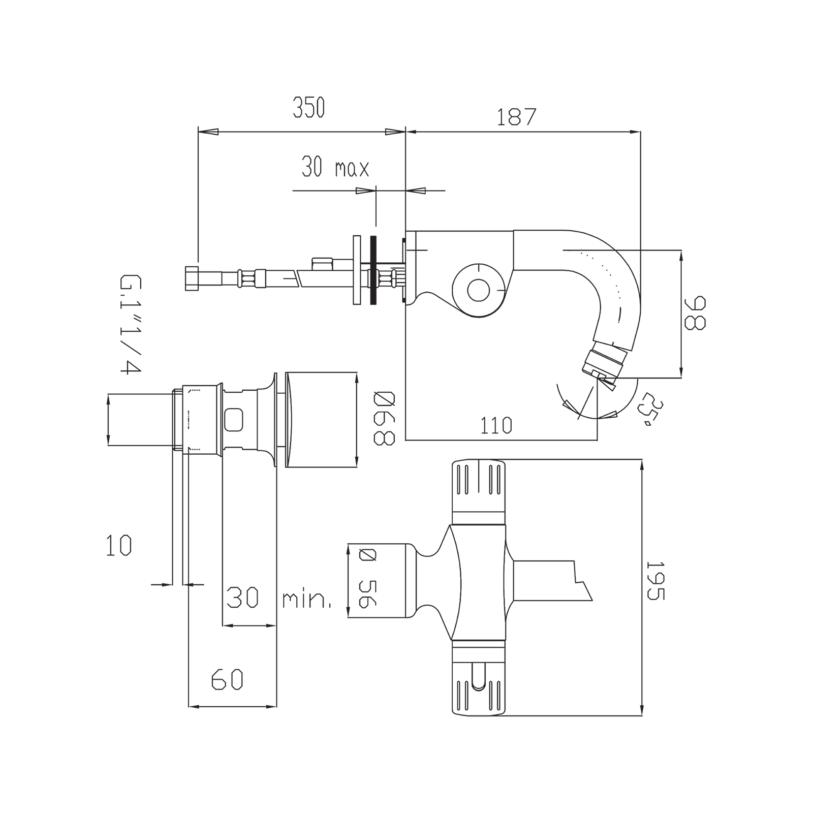 Thermostat-Waschtischmischer mit Schwenkauslauf