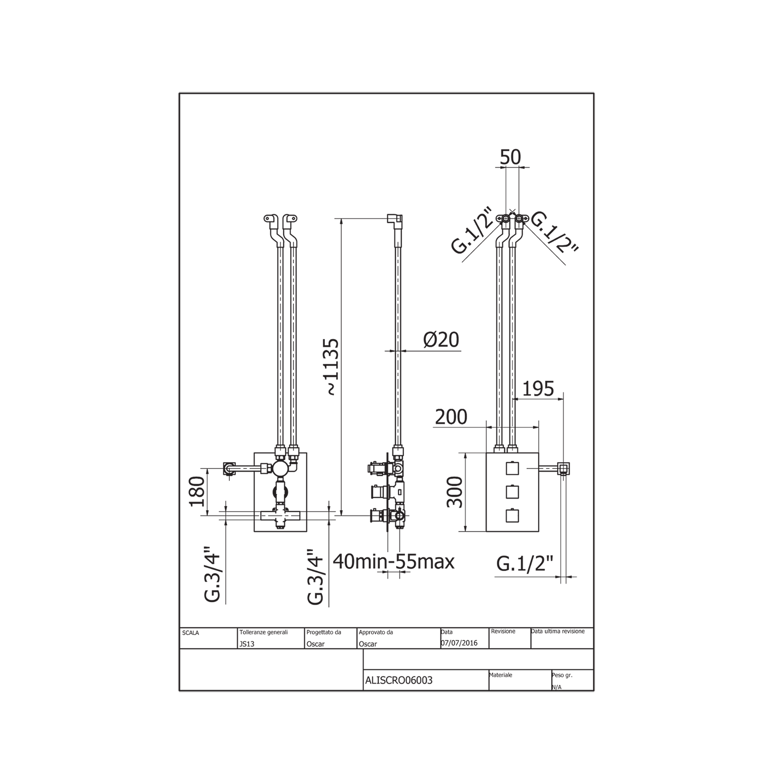 Colonne de douche thermostatique intégrée avec déviateur 3 voies