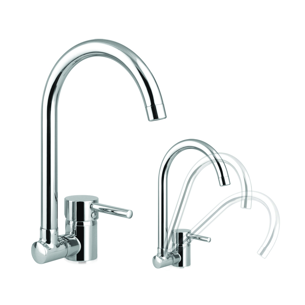 Sink mixer with folding swivel spout