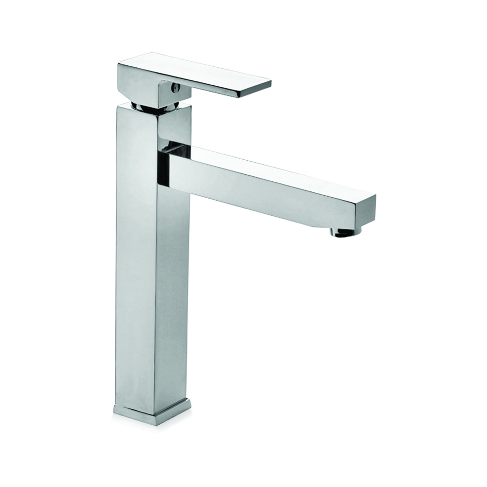 Tall basin mixer with long spout and CLICK-CLACK waste