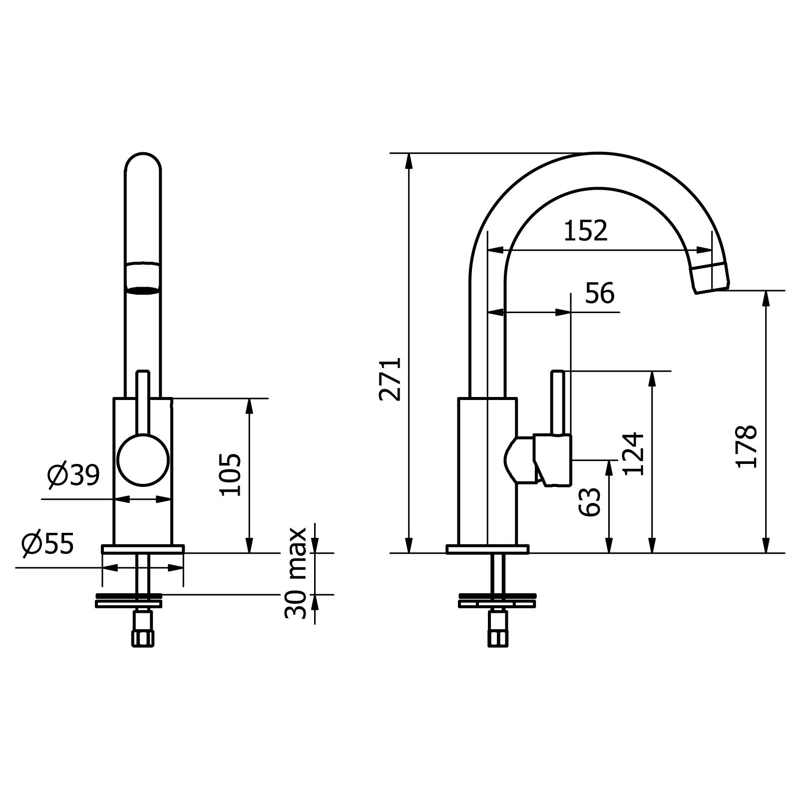 Waschbecken-Mischer mit mit seitlichem Griff und Click-Clack-Ablaufgarnitur