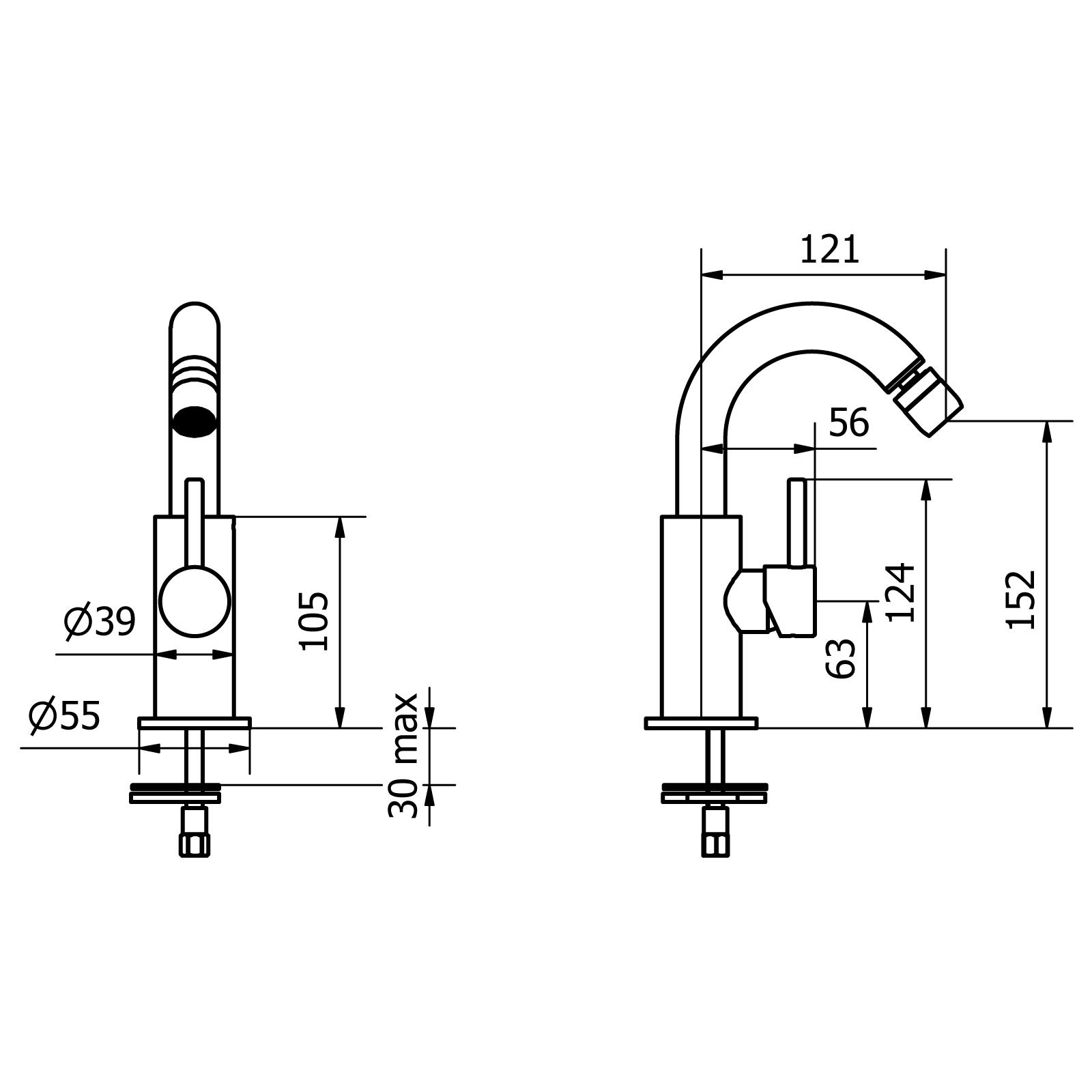 Einhebel-Bidet-Mischer mit mit seitlichem Griff und Click-Clack-Abflaufgarnitur