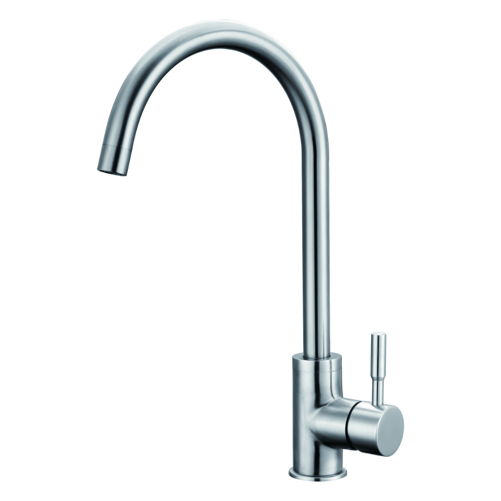 Kitchen faucet with lateral lever and swivel spout