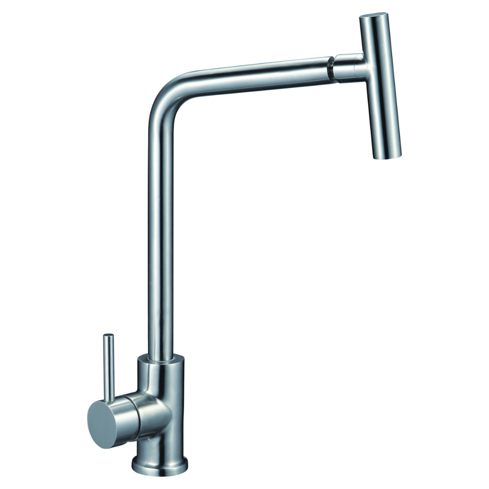 Kitchen faucet with lateral lever and adjustable spout