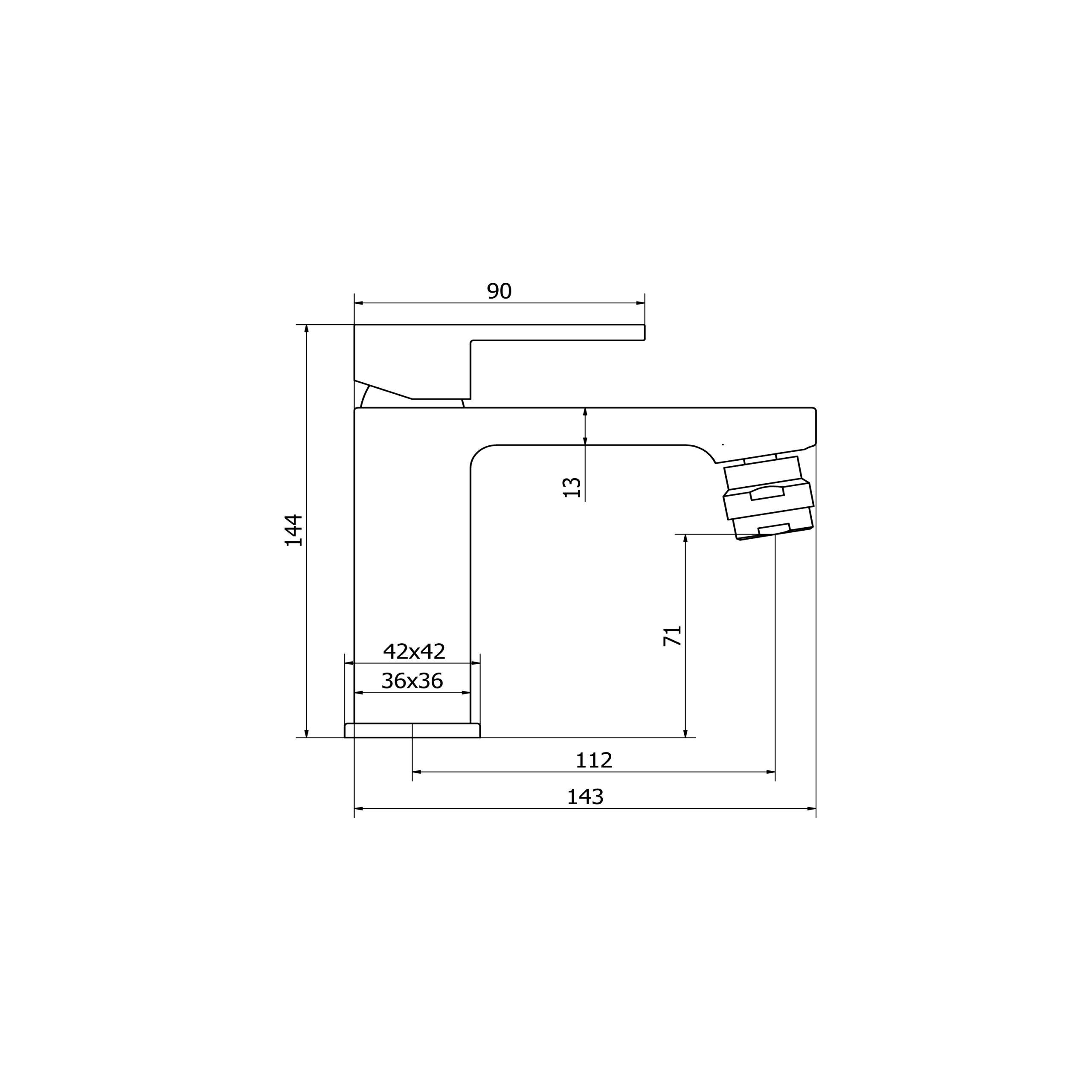 Miscelatore monocomando bidet con scarico CLICK-CLACK