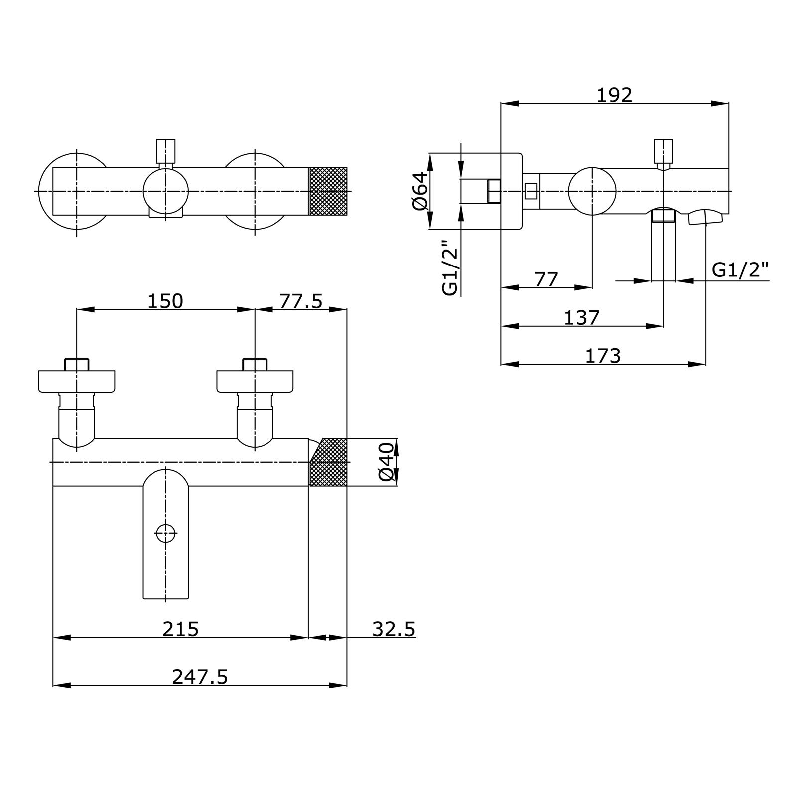 Miscelatore monocomando esterno vasca con deviatore automatico e kit doccia