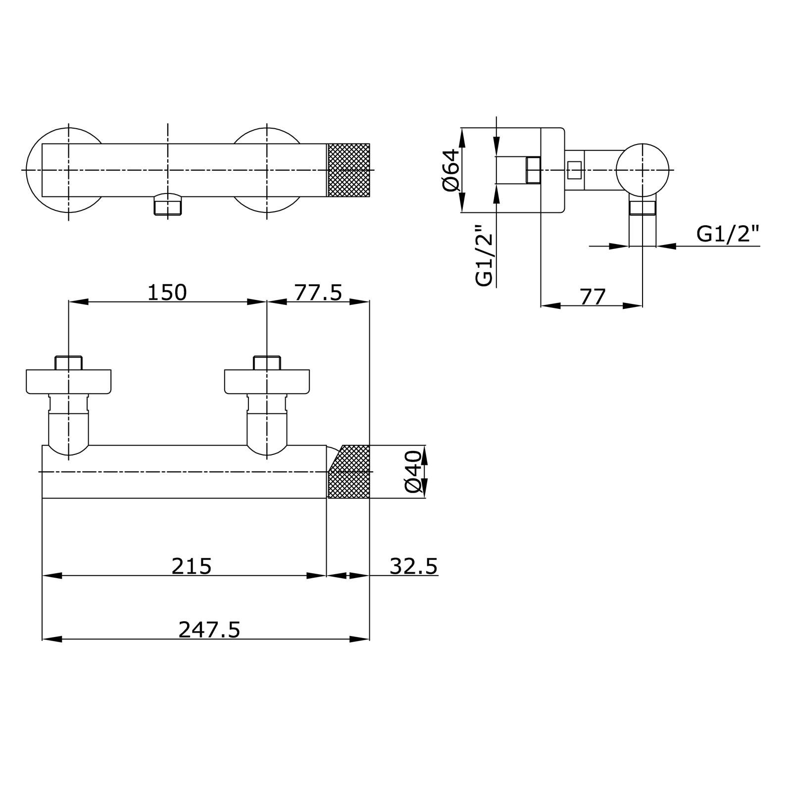 """Externer Einhebel-Duschenmischer mit geringer Verbindung 1/2"""""""