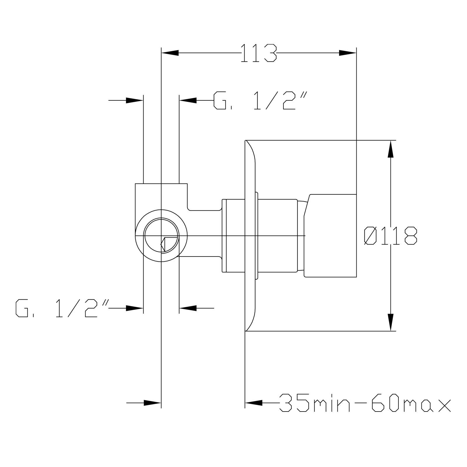 Built-in single control mixer for shower 1/2